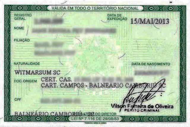 Documentos para viajar à Argentina, RG
