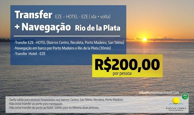 Promoções turísticas em Buenos Aires, transfer e passeio em barco