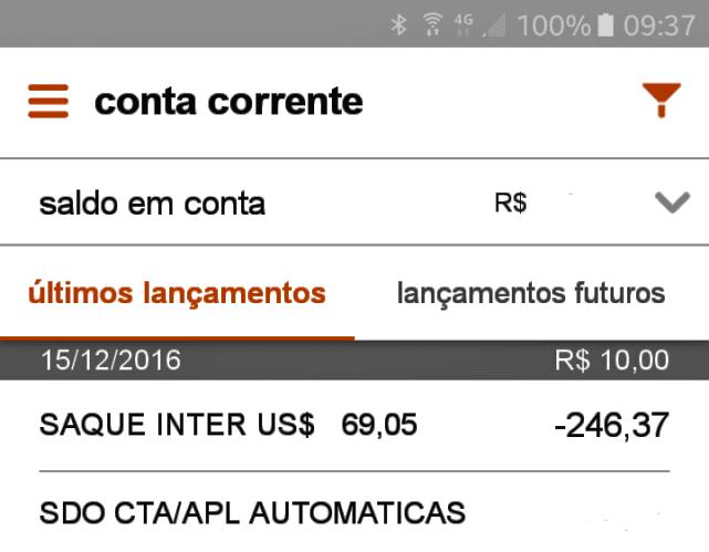Sacar dinheiro de um caixa eletrônico em Buenos Aires, extrato