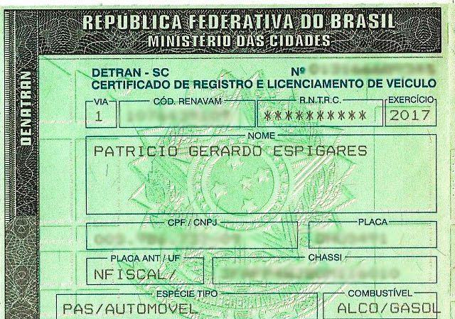 Documentos para viajar à Argentina de carro, CRLV